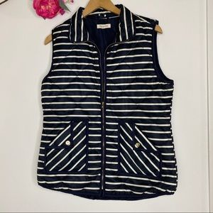 Tea n Rose Striped Vest Large Quilted